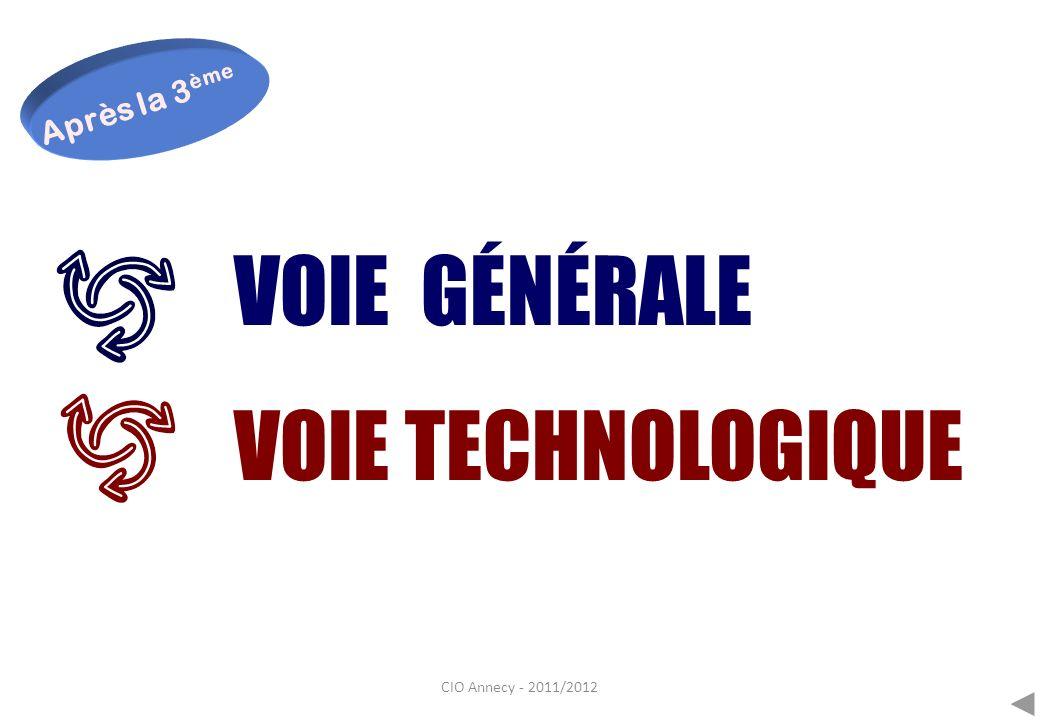 CIO Annecy - 2011/2012 VOIE GÉNÉRALE VOIE TECHNOLOGIQUE Après la 3 ème