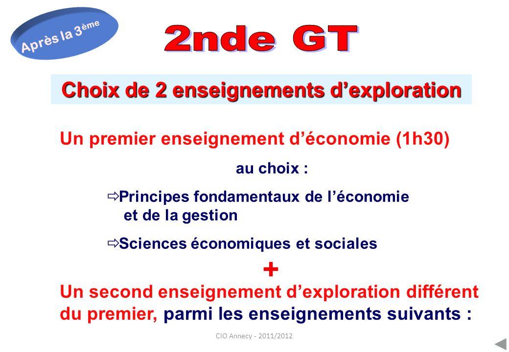 CIO Annecy - 2011/2012 Un premier enseignement déconomie (1h30) au choix : Principes fondamentaux de léconomie et de la gestion Sciences économiques e