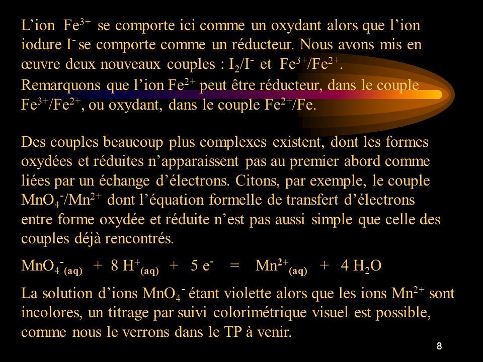 9 Matériel, solutions et réactifs : Nitrate dargent en solution à 1 mol/L Sulfate de cuivre en solution à 0,3 mol/L Soude en solution à 0,1 mol/L Chlorure de fer(III) à 0,05 mol/L Iodure de potassium en solution à 0,1 mol/L Chlorure de potassium en solution à 0,1 mol/L Cyclohexane (3 x 20 mL double extraction) Tresse de cuivre paille de fer Diiode en solution aqueuse Permanganate de potassium en solution acide Sel de Mohr en solution légèrement acide Ampoule à décanter Bechers de 50 mL Rétroprojecteur Bec Bunsen ou four à air chaud Tubes à essai