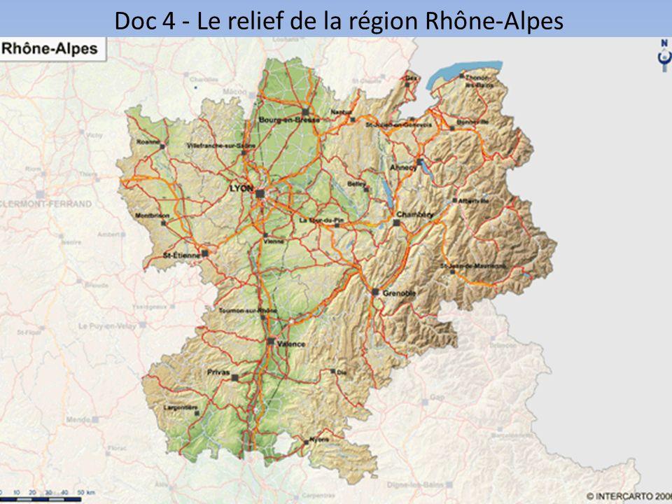 Rhône-Alpes en quelques chiffres Doc 5Rhône-AlpesFrance métropolitaine Rang en France Superficie (km²)43 698 551 5002ème Population totale (en millions) 6,2 62,82ème PIB par habitant (en euros) 29 420 29 8972ème Taux de chômage (%)8,3 9,2 (chiffre de 2012)16ème Accroissement naturel (%)0,6 0,46ème Population active: - agriculture (secteur primaire) - industrie (secteur secondaire) - services (secteur tertiaire) 1,8 % 24,5 % 73,7 % 2,6 % 20,6 % 76,8 % 19ème 9ème 8ème Chercheurs (en % du nb total)11.7 % 100 %2ème Source: INSEE, 2011