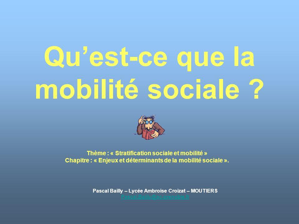 Quest-ce que la mobilité sociale ? Pascal Bailly – Lycée Ambroise Croizat – MOUTIERS Pascal.Bailly@ac-grenoble.fr Thème : « Stratification sociale et