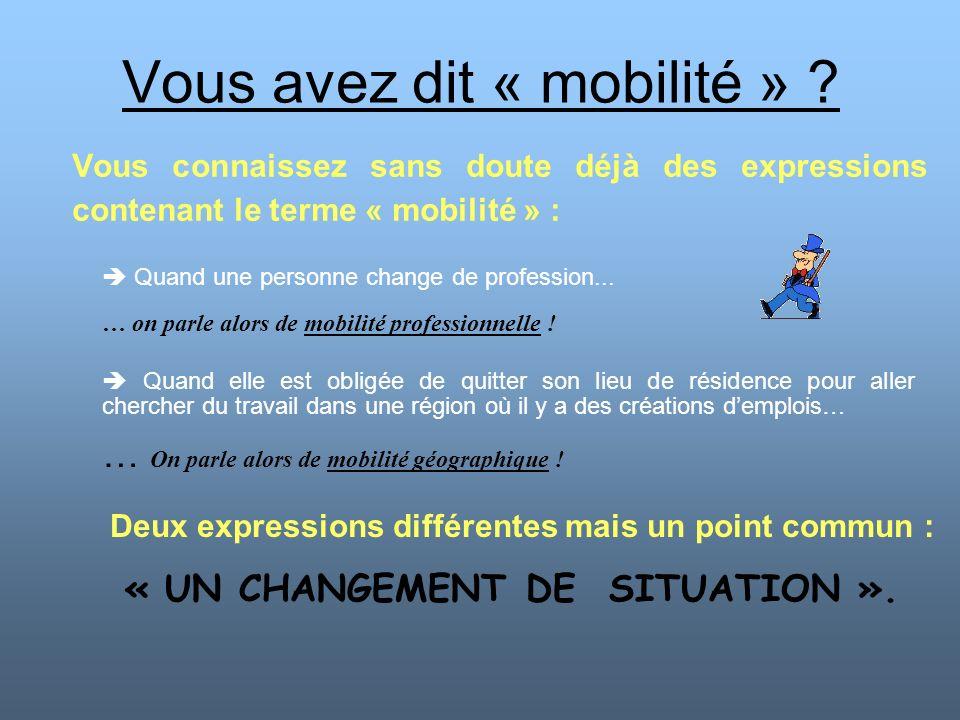 Vous avez dit « mobilité » ? Vous connaissez sans doute déjà des expressions contenant le terme « mobilité » : Quand elle est obligée de quitter son l