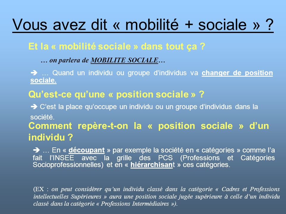 Vous avez dit « mobilité + sociale » ? Et la « mobilité sociale » dans tout ça ? … Quand un individu ou groupe dindividus va changer de position socia
