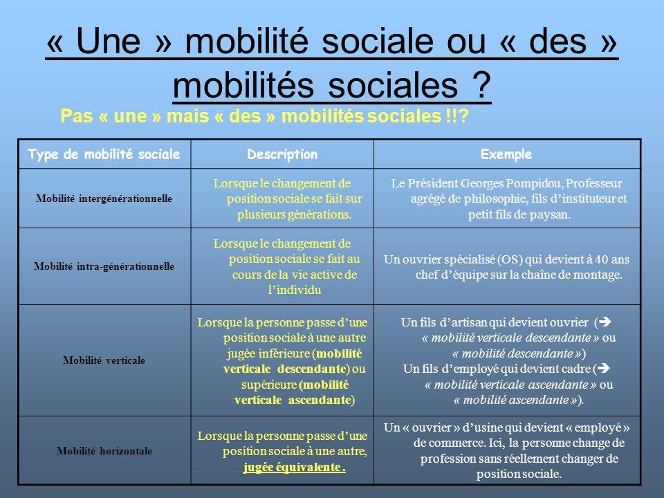 « Une » mobilité sociale ou « des » mobilités sociales ? Pas « une » mais « des » mobilités sociales !!? Type de mobilité socialeDescriptionExemple Mo