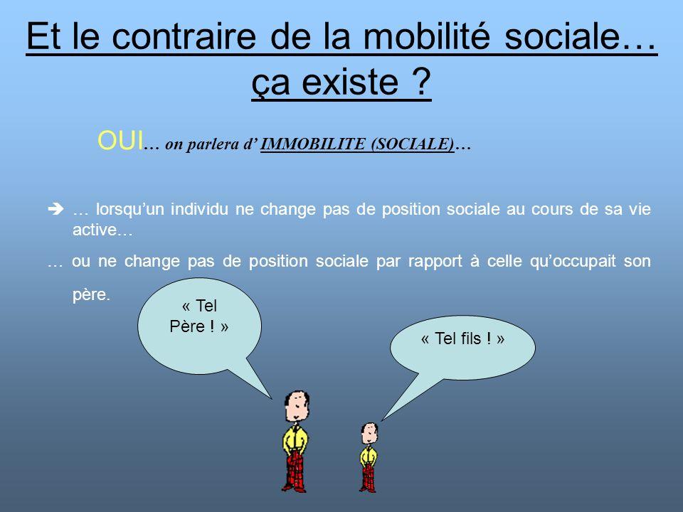 Et le contraire de la mobilité sociale… ça existe ? OUI … on parlera d IMMOBILITE (SOCIALE)… … lorsquun individu ne change pas de position sociale au