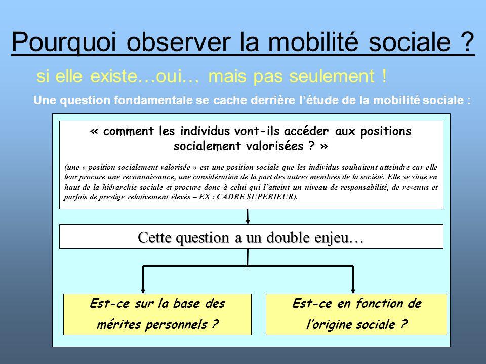 Pourquoi observer la mobilité sociale ? si elle existe…oui… mais pas seulement ! « comment les individus vont-ils accéder aux positions socialement va