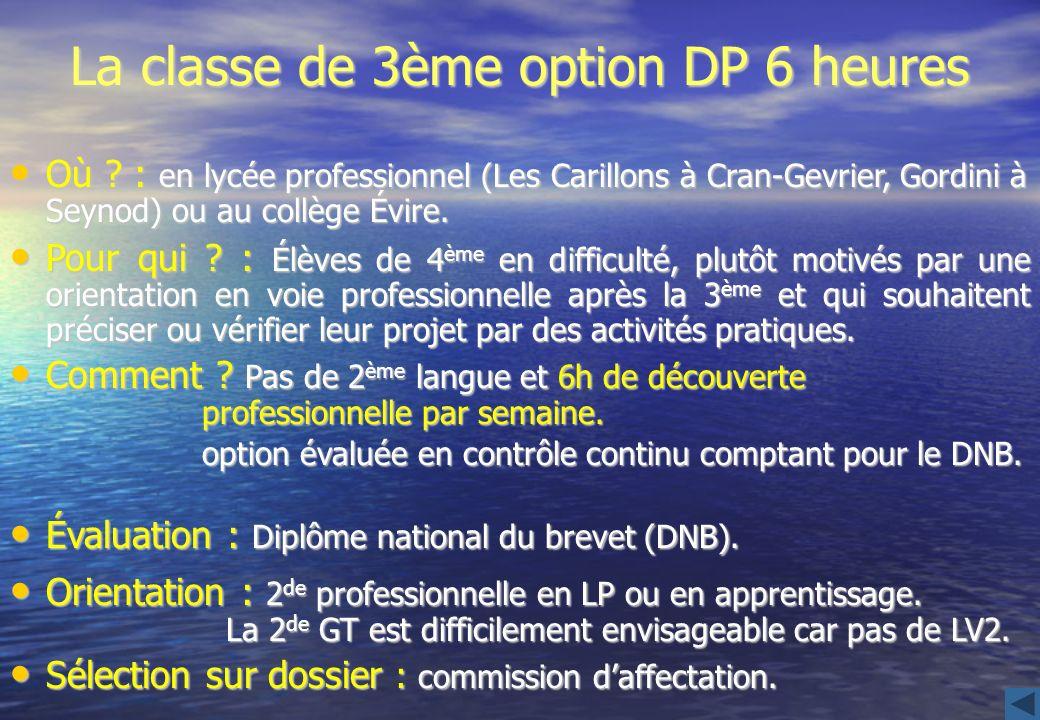 La classe de 3ème option DP 6 heures Où ? : en lycée professionnel (Les Carillons à Cran-Gevrier, Gordini à Seynod) ou au collège Évire. Où ? : en lyc