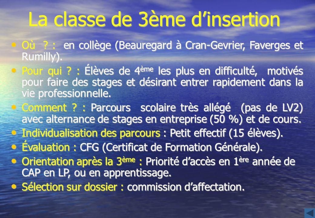 La classe de 3ème dinsertion Où ? : en collège (Beauregard à Cran-Gevrier, Faverges et Rumilly). Où ? : en collège (Beauregard à Cran-Gevrier, Faverge