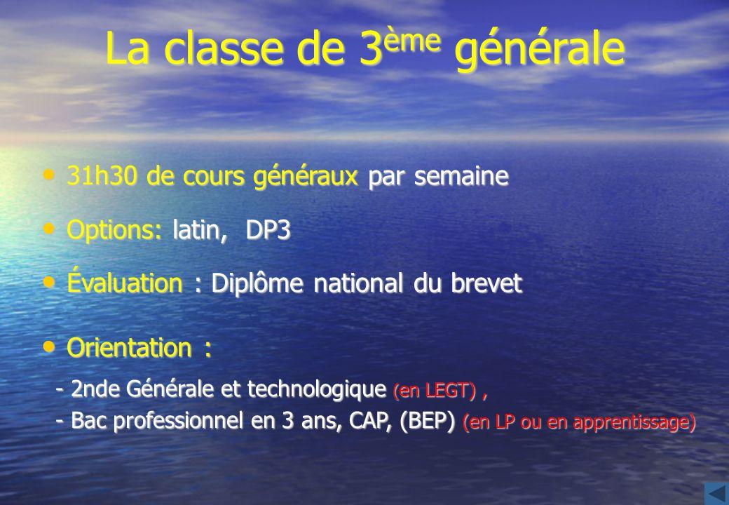 La classe de 3 ème générale 31h30 de cours généraux par semaine 31h30 de cours généraux par semaine Options: latin, DP3 Options: latin, DP3 Évaluation