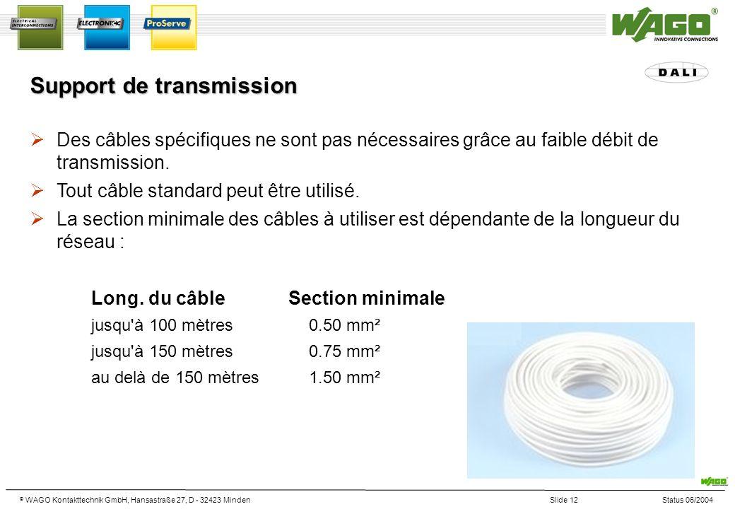 © WAGO Kontakttechnik GmbH, Hansastraße 27, D - 32423 MindenSlide 12Status 06/2004 Support de transmission Des câbles spécifiques ne sont pas nécessaires grâce au faible débit de transmission.