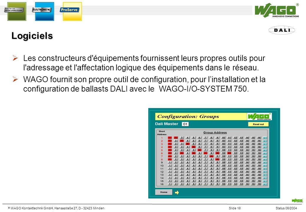 © WAGO Kontakttechnik GmbH, Hansastraße 27, D - 32423 MindenSlide 18Status 06/2004 Les constructeurs d équipements fournissent leurs propres outils pour l adressage et l affectation logique des équipements dans le réseau.
