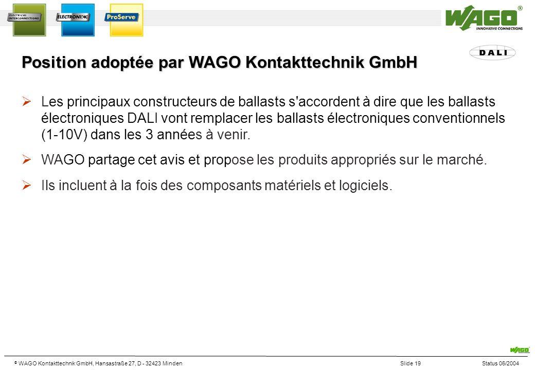 © WAGO Kontakttechnik GmbH, Hansastraße 27, D - 32423 MindenSlide 19Status 06/2004 Position adoptée par WAGO Kontakttechnik GmbH Les principaux constructeurs de ballasts s accordent à dire que les ballasts électroniques DALI vont remplacer les ballasts électroniques conventionnels (1-10V) dans les 3 années à venir.