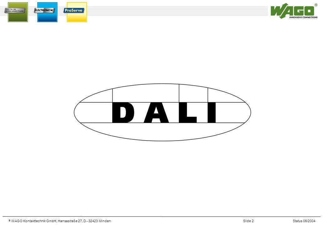© WAGO Kontakttechnik GmbH, Hansastraße 27, D - 32423 MindenSlide 3Status 06/2004 Le monde DALI DALI est la définition de l interface numérique standardisée pour les ballasts électroniques.