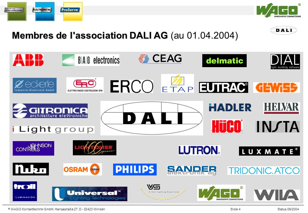 © WAGO Kontakttechnik GmbH, Hansastraße 27, D - 32423 MindenSlide 4Status 06/2004 Membres de l'association DALI AG Membres de l'association DALI AG (a