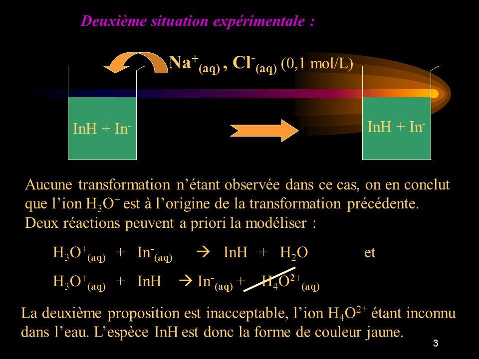 3 Aucune transformation nétant observée dans ce cas, on en conclut que lion H 3 O + est à lorigine de la transformation précédente.