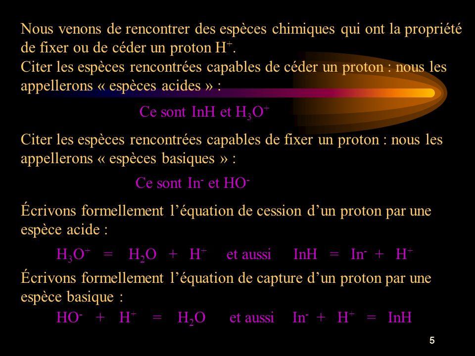 5 Nous venons de rencontrer des espèces chimiques qui ont la propriété de fixer ou de céder un proton H +.