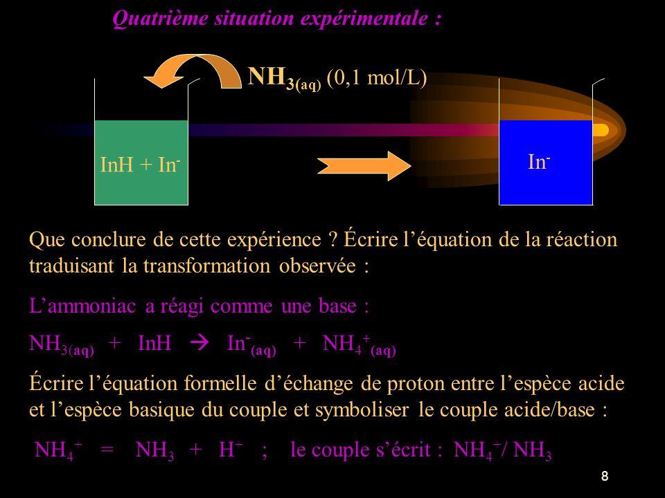 9 À ton avis comment vérifier que NH 4 + est une espèce acide .