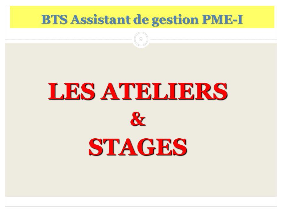 9 LES ATELIERS &STAGES BTS Assistant de gestion PME-I