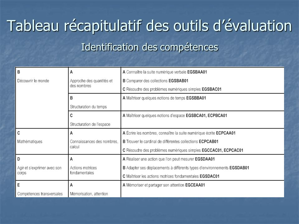 Tableau récapitulatif des outils dévaluation Identification des compétences