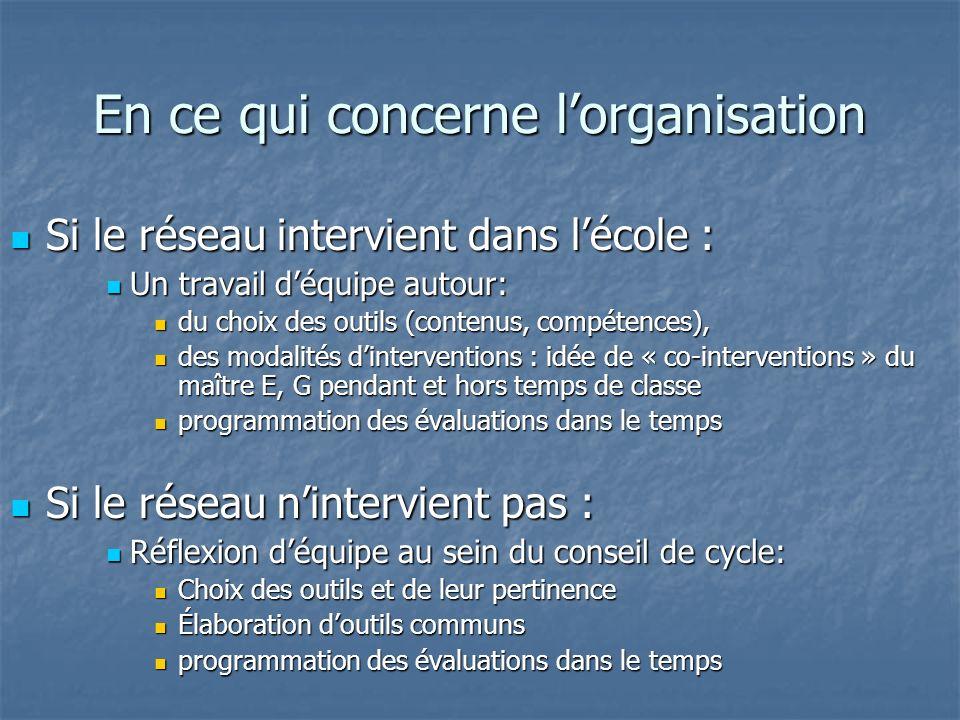 En ce qui concerne lorganisation Si le réseau intervient dans lécole : Si le réseau intervient dans lécole : Un travail déquipe autour: Un travail déq