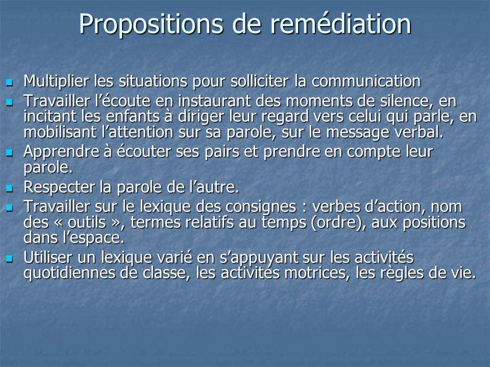 Propositions de remédiation Multiplier les situations pour solliciter la communication Multiplier les situations pour solliciter la communication Trav