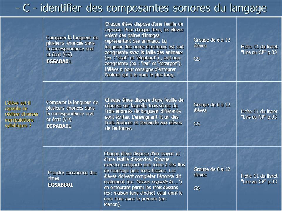 - C - identifier des composantes sonores du langage L'élève est-il capable de réaliser diverses manipulations syllabiques ? Comparer la longueur de pl