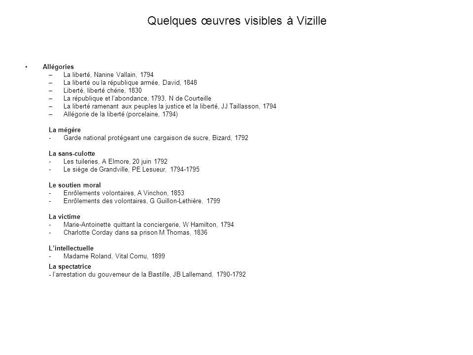 Quelques œuvres visibles à Vizille Allégories : –La liberté, Nanine Vallain, 1794 –La liberté ou la république armée, David, 1848 –Liberté, liberté ch
