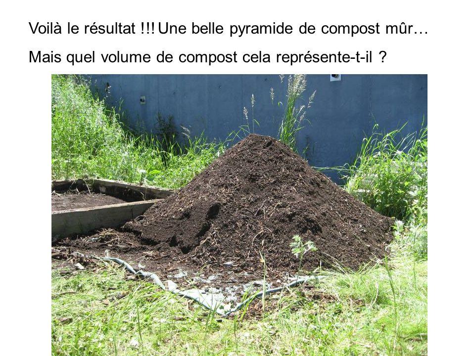 Voilà le résultat !!! Une belle pyramide de compost mûr… Mais quel volume de compost cela représente-t-il ?