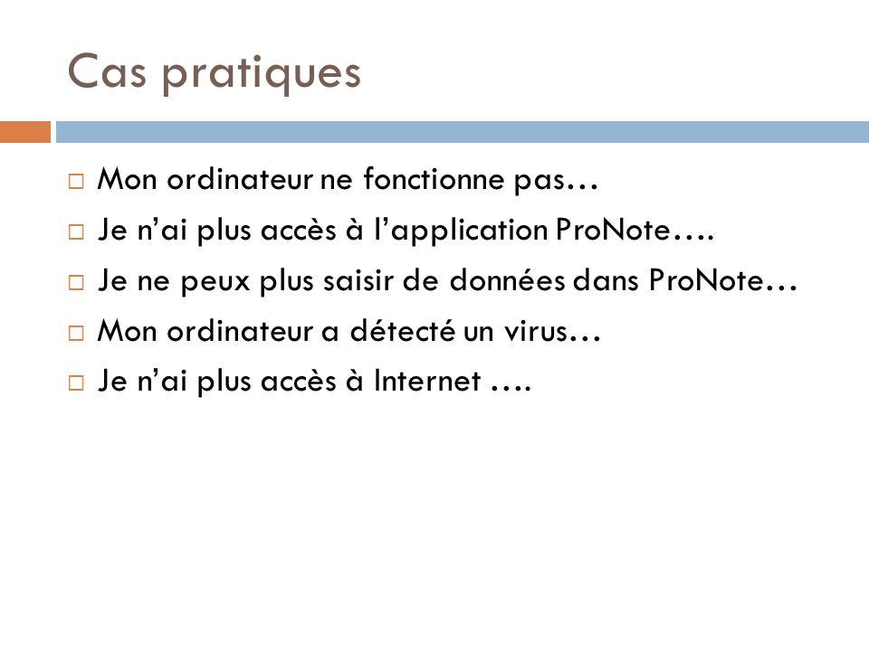 Cas pratiques Mon ordinateur ne fonctionne pas… Je nai plus accès à lapplication ProNote…. Je ne peux plus saisir de données dans ProNote… Mon ordinat