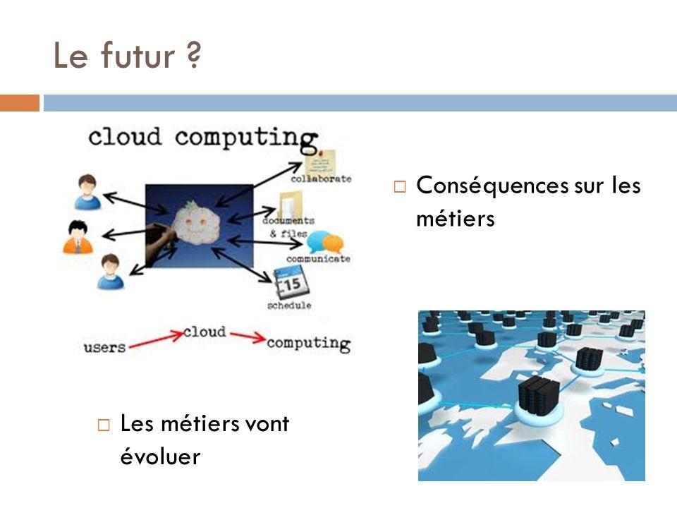 Le futur ? Conséquences sur les métiers Les métiers vont évoluer