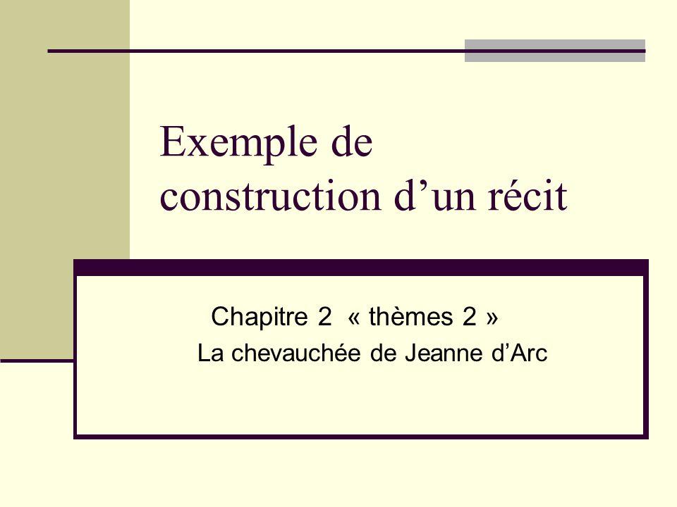 Exemple de construction dun récit Chapitre 2 « thèmes 2 » La chevauchée de Jeanne dArc