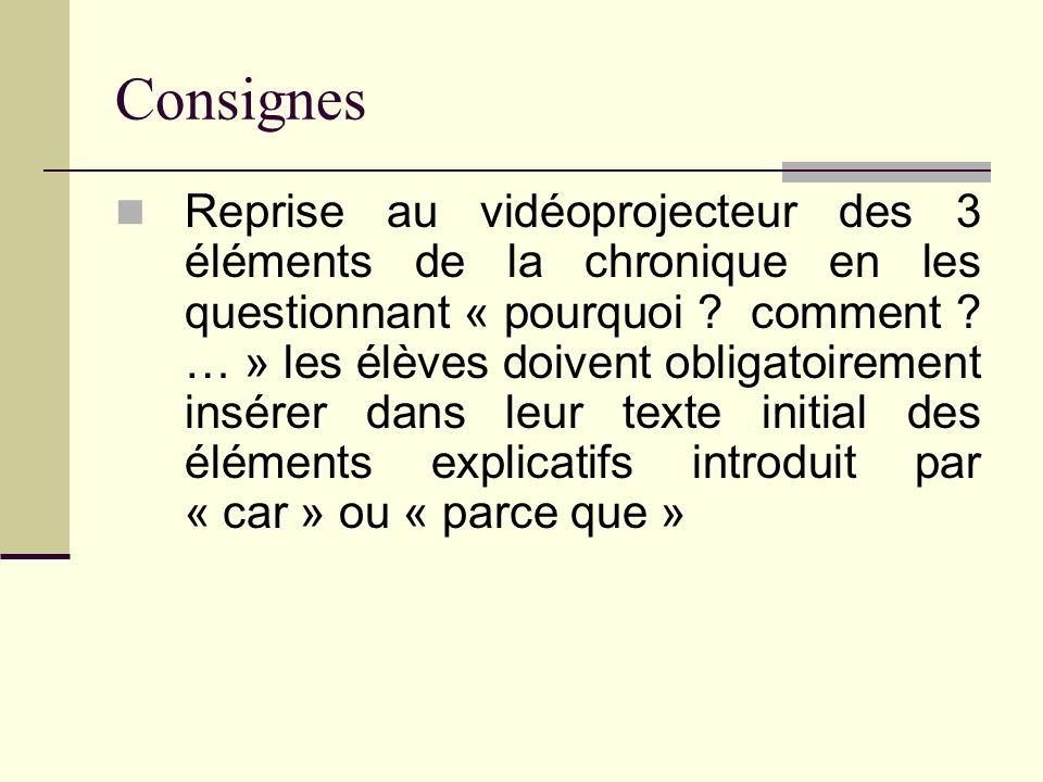 Consignes Reprise au vidéoprojecteur des 3 éléments de la chronique en les questionnant « pourquoi ? comment ? … » les élèves doivent obligatoirement