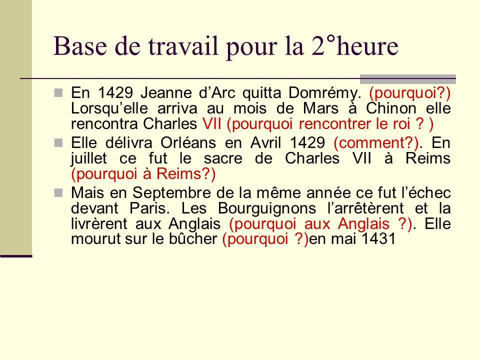 Base de travail pour la 2°heure En 1429 Jeanne dArc quitta Domrémy. (pourquoi?) Lorsquelle arriva au mois de Mars à Chinon elle rencontra Charles VII