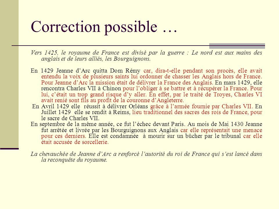 Correction possible … Vers 1425, le royaume de France est divisé par la guerre : Le nord est aux mains des anglais et de leurs alliés, les Bourguignon