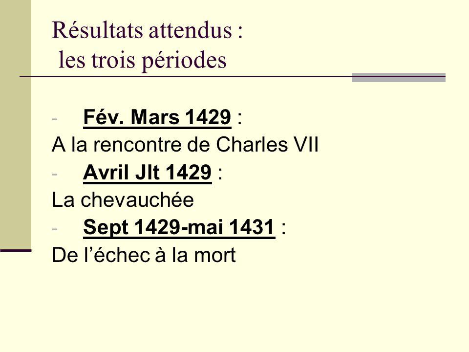 Résultats attendus : les trois périodes - Fév. Mars 1429 : A la rencontre de Charles VII - Avril Jlt 1429 : La chevauchée - Sept 1429-mai 1431 : De lé