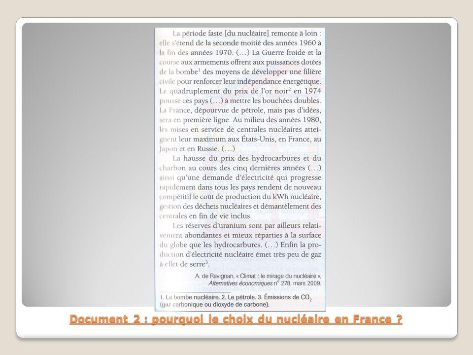 Document 2 : pourquoi le choix du nucléaire en France ?