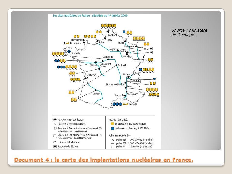 Document 4 : la carte des implantations nucléaires en France. Source : ministère de lécologie.