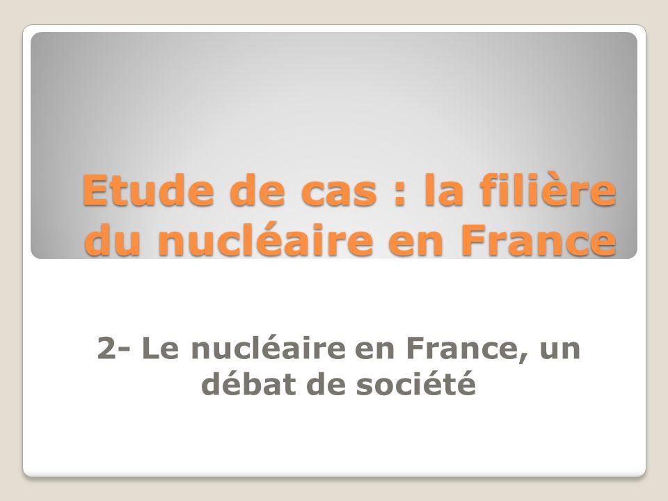 Etude de cas : la filière du nucléaire en France 2- Le nucléaire en France, un débat de société