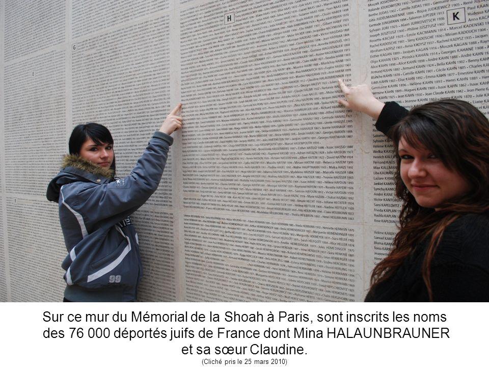 Sur ce mur du Mémorial de la Shoah à Paris, sont inscrits les noms des 76 000 déportés juifs de France dont Mina HALAUNBRAUNER et sa sœur Claudine. (C