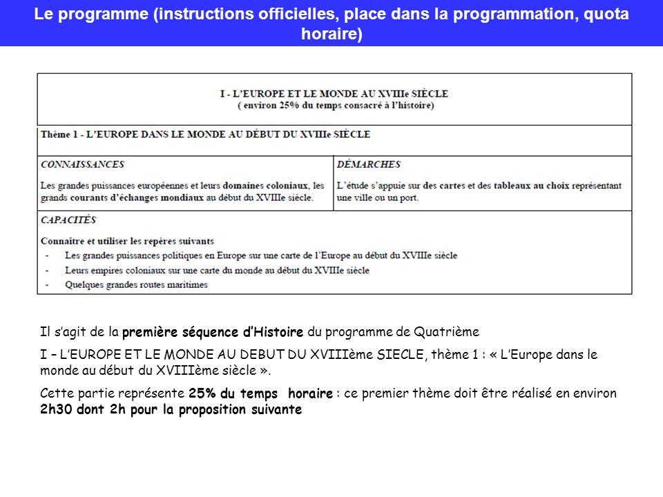 Le programme (instructions officielles, place dans la programmation, quota horaire) Il sagit de la première séquence dHistoire du programme de Quatriè