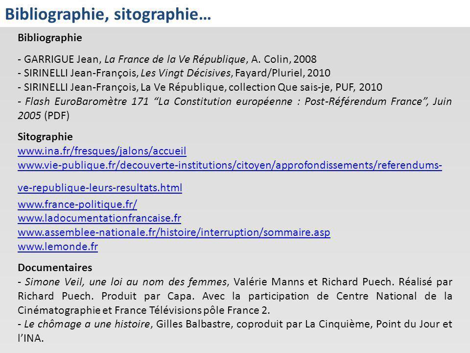 Bibliographie, sitographie… Bibliographie - GARRIGUE Jean, La France de la Ve République, A. Colin, 2008 - SIRINELLI Jean-François, Les Vingt Décisive