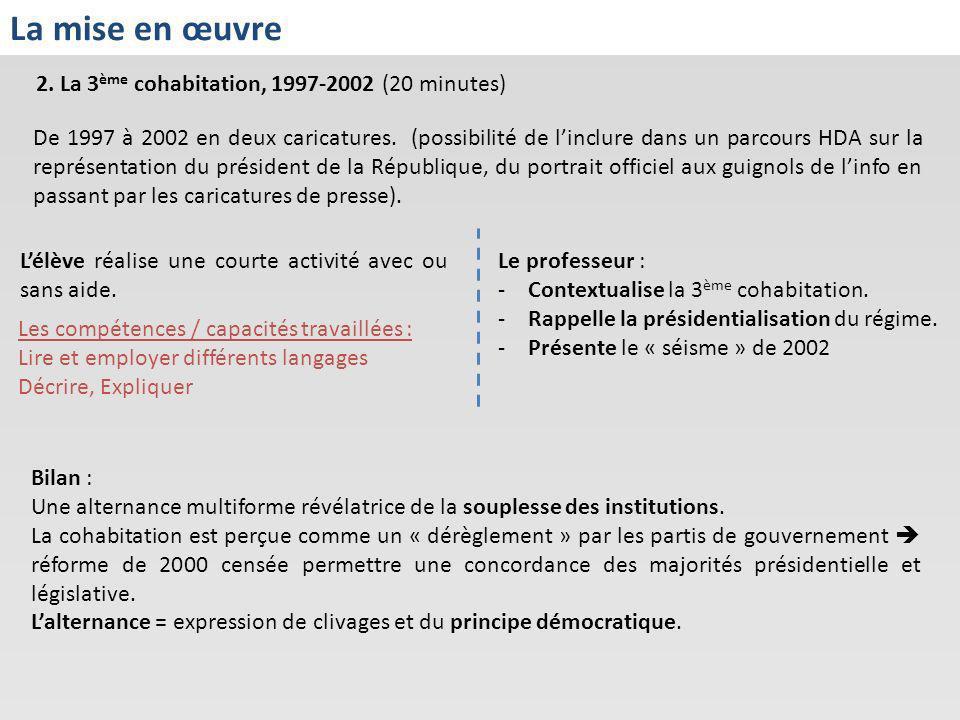 2. La 3 ème cohabitation, 1997-2002 (20 minutes) La mise en œuvre Lélève réalise une courte activité avec ou sans aide. Le professeur : -Contextualise