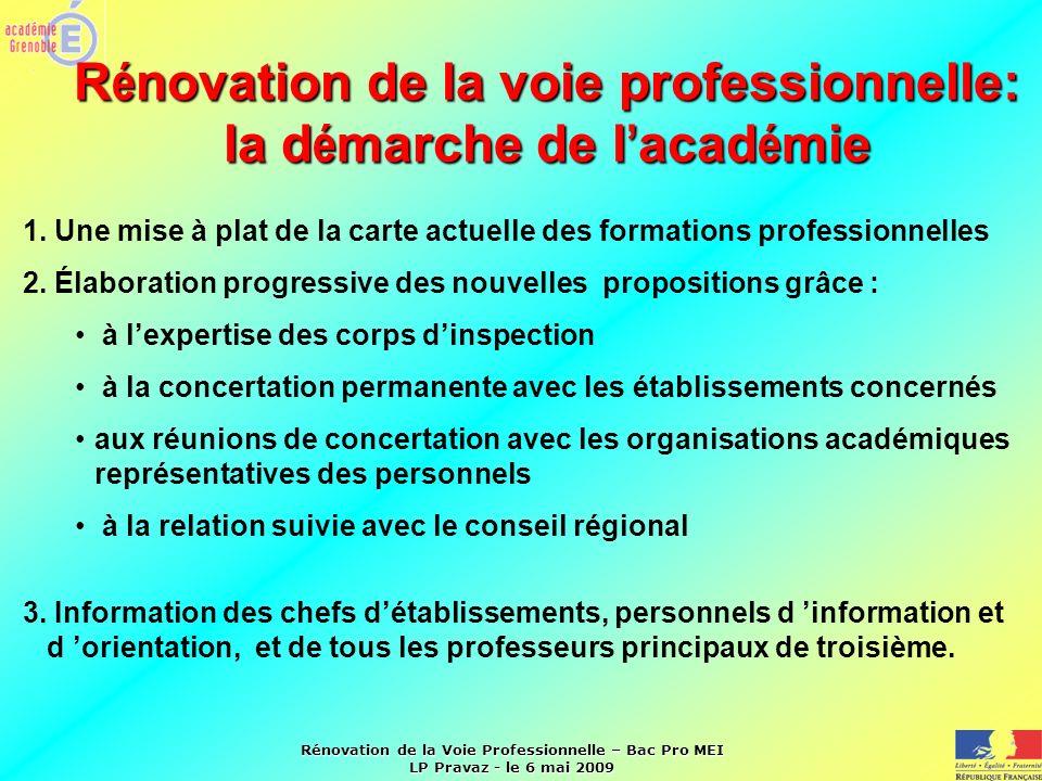 Rénovation de la Voie Professionnelle – Bac Pro MEI LP Pravaz - le 6 mai 2009 R é novation de la voie professionnelle: la d é marche de l acad é mie 1