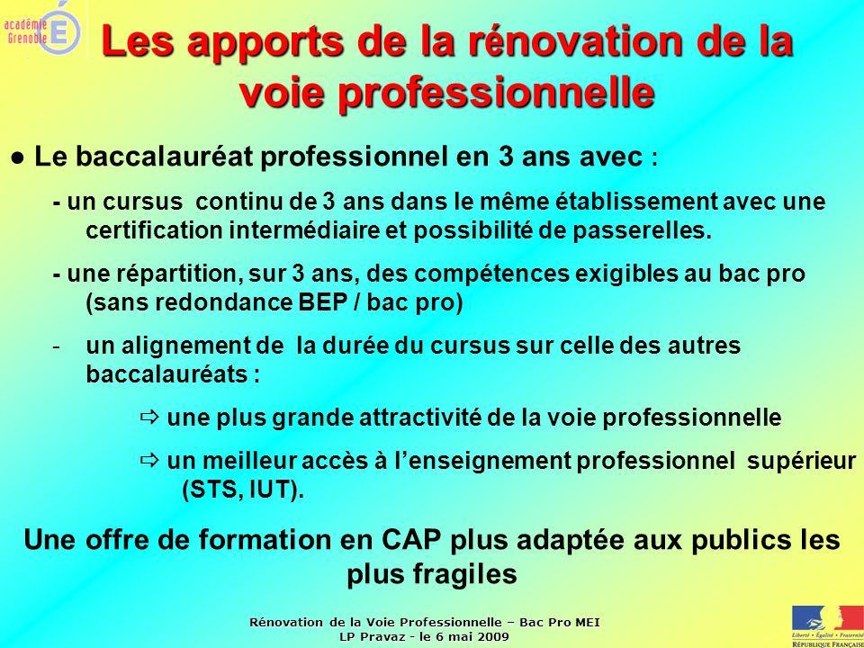 Rénovation de la Voie Professionnelle – Bac Pro MEI LP Pravaz - le 6 mai 2009 Les apports de la r é novation de la voie professionnelle Le baccalauréa