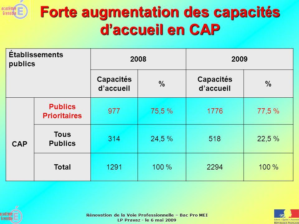 Rénovation de la Voie Professionnelle – Bac Pro MEI LP Pravaz - le 6 mai 2009 Forte augmentation des capacit é s d accueil en CAP Établissements publi
