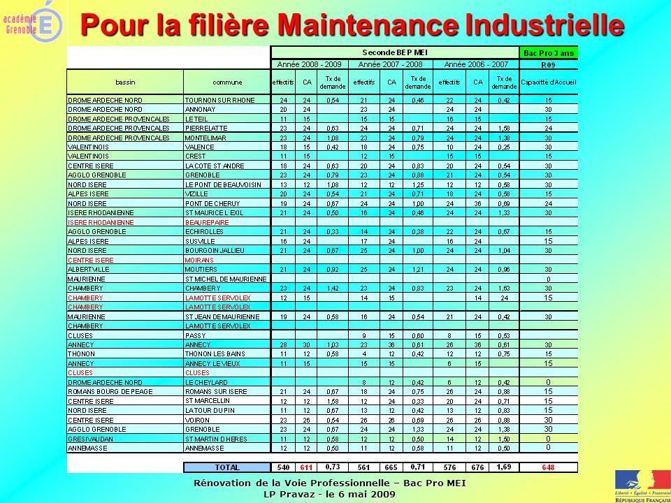 Rénovation de la Voie Professionnelle – Bac Pro MEI LP Pravaz - le 6 mai 2009 Pour la filière Maintenance Industrielle