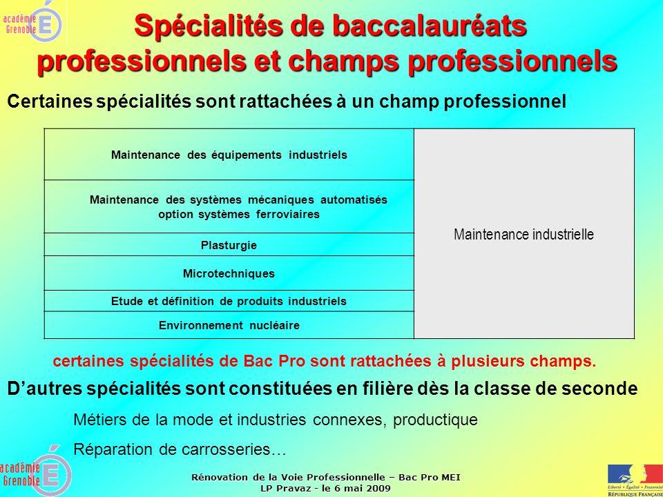 Rénovation de la Voie Professionnelle – Bac Pro MEI LP Pravaz - le 6 mai 2009 Sp é cialit é s de baccalaur é ats professionnels et champs professionne