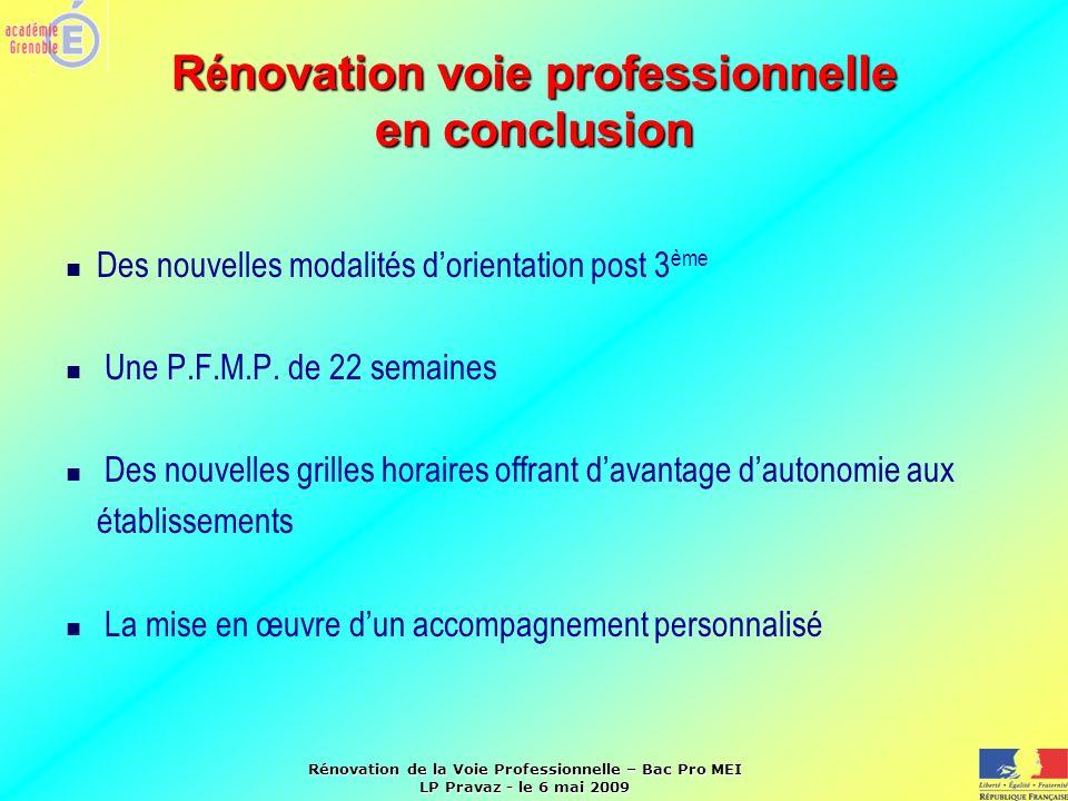 Rénovation de la Voie Professionnelle – Bac Pro MEI LP Pravaz - le 6 mai 2009 R é novation voie professionnelle en conclusion Des nouvelles modalités