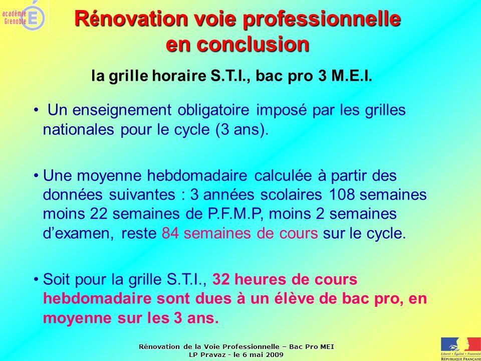 Rénovation de la Voie Professionnelle – Bac Pro MEI LP Pravaz - le 6 mai 2009 R é novation voie professionnelle en conclusion la grille horaire S.T.I.
