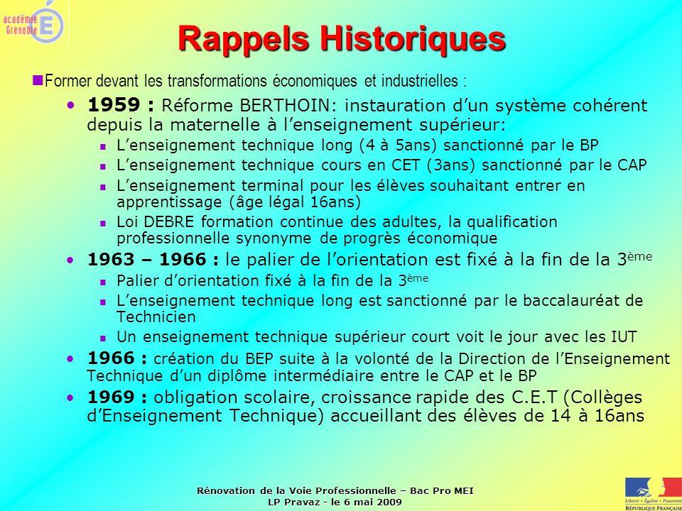 Rénovation de la Voie Professionnelle – Bac Pro MEI LP Pravaz - le 6 mai 2009 Rappels Historiques Former devant les transformations économiques et ind